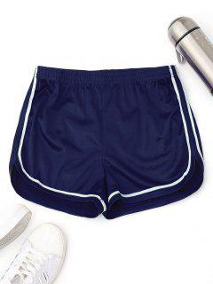 Elastic Waist Satin Sports Dolphin Shorts - Blue M
