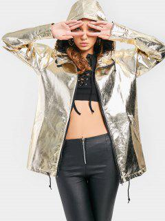 Pockets Zip Up Shiny Hooded Jacket - Golden S