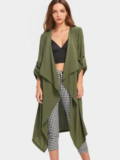 Buttoned Tabs Open Front Trench Coat - Army Green L