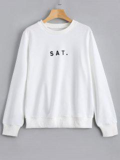 Crew Neck Letter Graphic Sweatshirt - White L