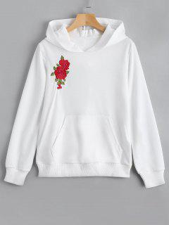 Front Pocket Flower Embroidered Hoodie - White M