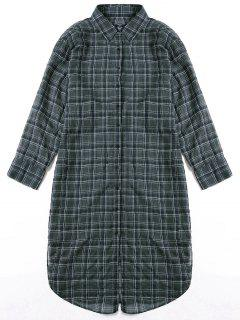 Longline Side Slit Plaid Dolphin Shirt Dress - Sage Green M