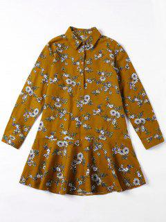 Flounced Tiny Floral Mini Shirt Dress - Yellow Ocher M