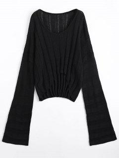 Drop Shoulder High Low Sweater - Black