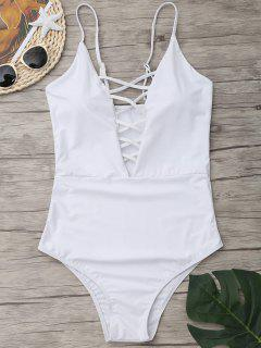 Criss Cross One Piece Swimsuit - Blanc S