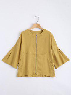 Zip Up Three Quarter Sleeve Blouse - Ginger M