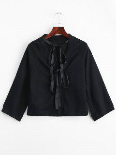 Bow Tied Snap Button Blouse - Black L