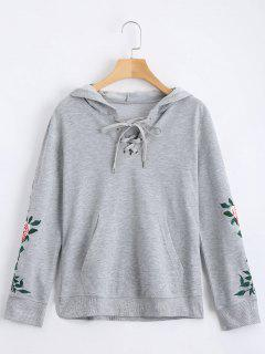 Floral Patched Lace Up Hoodie - Gray M