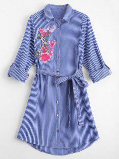 Floral Embroidered Belted Stripes Shirt Dress - Stripe M