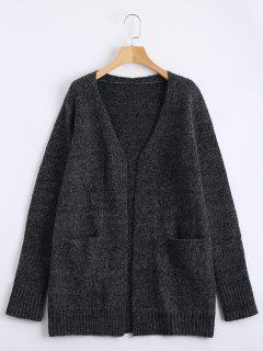 Plain Open Front Cardigan With Pockets - Deep Gray S