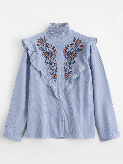 Ruffles Embroidered Stripes Shirt - Stripe L