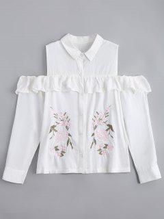 Ruffles Embroidered Cold Shoulder Shirt - White M