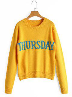 Letter Graphic Crew Neck Sweater - Yellow
