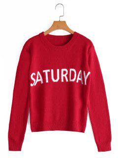 Letter Graphic Crew Neck Sweater - Red