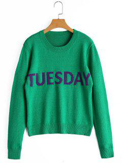 Letter Graphic Crew Neck Sweater - Green