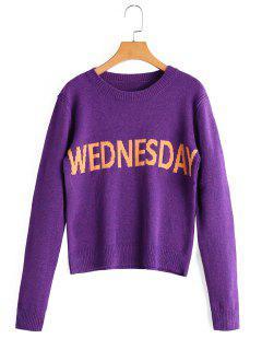 Letter Graphic Crew Neck Sweater - Purple
