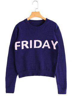Letter Graphic Crew Neck Sweater - Royal