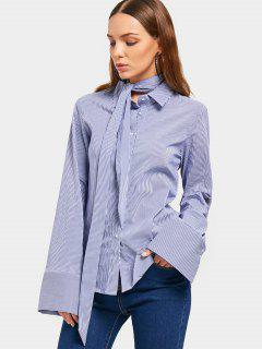 Button Up Striped Belted Longline Shirt - Stripe L