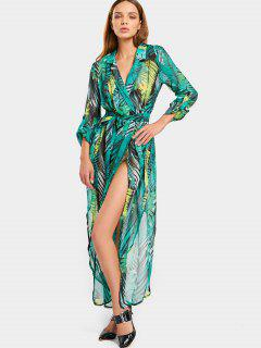 Leaves Print High Slit Belted Asymmetric Dress - Green L