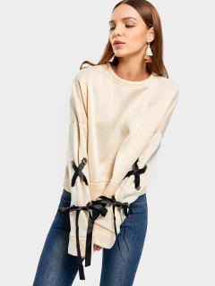 Short Drop Shoulder Lace Up Sweatshirt - Apricot S