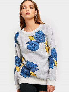 Raglan Sleeve Flower Graphic Sweatshirt - Gray M