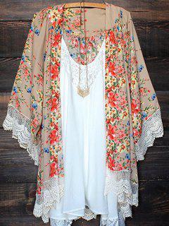 Floral Lace Trim Open Front Cardigan - Floral L