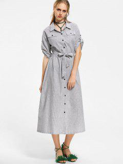 Belted Button Up Stripes Maxi Dress - Stripe M