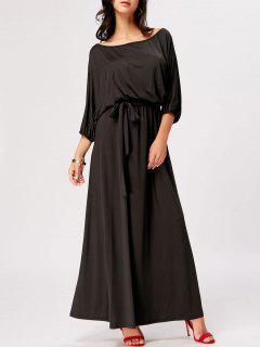 Boat Neck Belted Maxi Dress - Black M