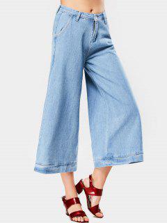 Hohe Taille Geerntete Breite Bein-Jeans - Hellblau M