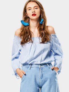 Off The Shoulder Striped Smocked Blouse - Light Blue S