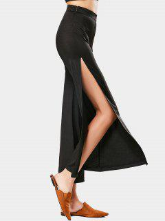 High Waist High Slit Wide Leg Pants - Black L