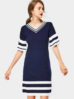 V Neck Striped Knit Dress - Purplish Blue
