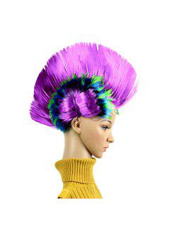 Christmas Halloween Carnival Decoration Mohawk Synthetic Party Wig - Purple