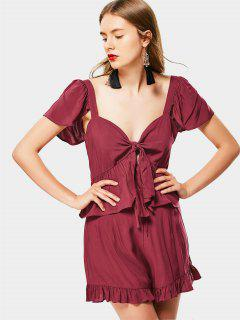Plunge Wrap Top Et Ruffled Shorts Set - Rouge Vineux  M