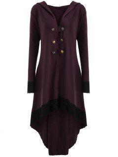 Lace-up Plus Size Hooded High Low Coat - Wine Red 5xl