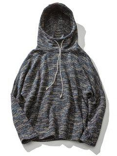 Colorful Knit Blends Drop Shoulder Pullover Hoodie - Gray M