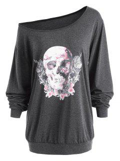 Plus Size Halloween Rose Skull Skew Neck Tee - Deep Gray 4xl