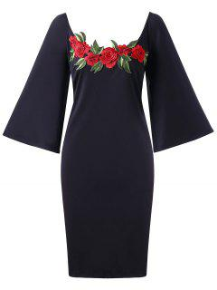 Embroidery Plus Size Flare Sleeve Bodycon Dress - Black Xl
