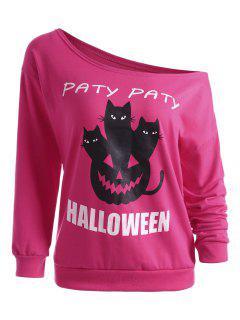 Pumpkin Halloween Party One Shoulder Sweatshirt - Tutti Frutti Xl