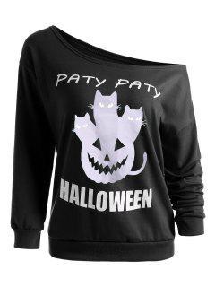 Pumpkin Halloween Party One Shoulder Sweatshirt - Black S
