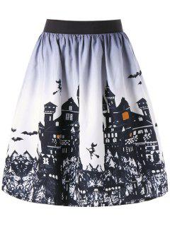 Halloween Castle Print Ombre Swing Skirt - White And Black L