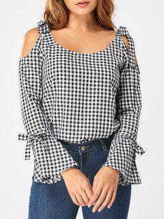 Tie Shoulder Flare Sleeve Gingham Blouse - Black White 2xl
