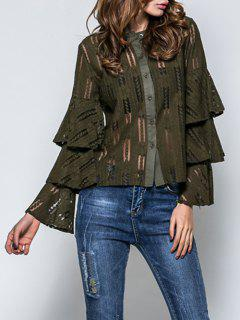 Layered Flare Sleeve Lace Top - Army Green M
