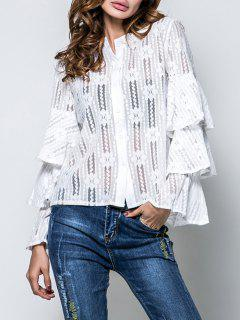 Layered Flare Sleeve Lace Top - White 2xl