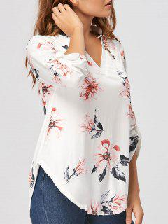 V Neck Floral Blouse - White L
