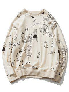 Sweat-shirt à Imprimé Cartoon Épaules Tombantes - Blanc Cassé M