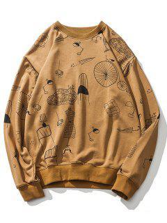 Cartoon Print Drop Shoulder Sweatshirt - Ginger M