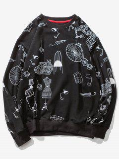 Cartoon Print Drop Shoulder Sweatshirt - Black M