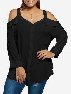 Plus Size Button Up Cold Shoulder Blouse - Black Xl