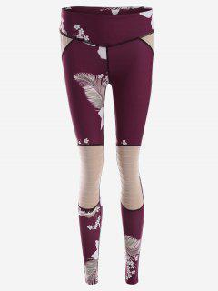 Flower Print Textured Yoga Leggings - Purplish Red S